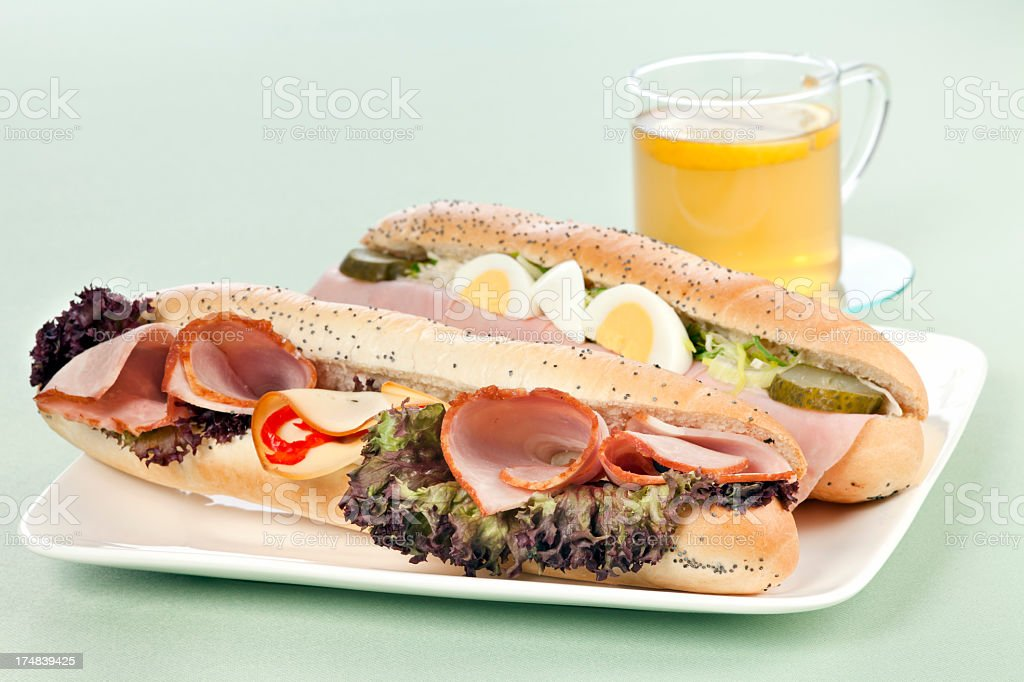 Two types of sandwiches with tea royalty-free stock photo