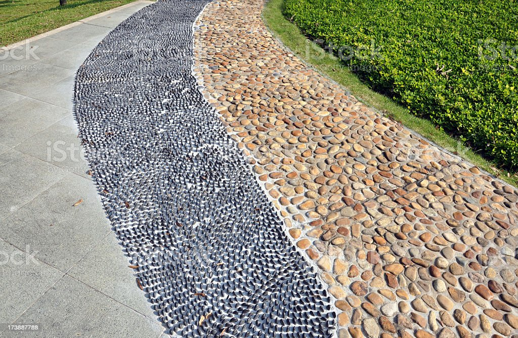 Two Types of Stone Road for Foot Massage royalty-free stock photo