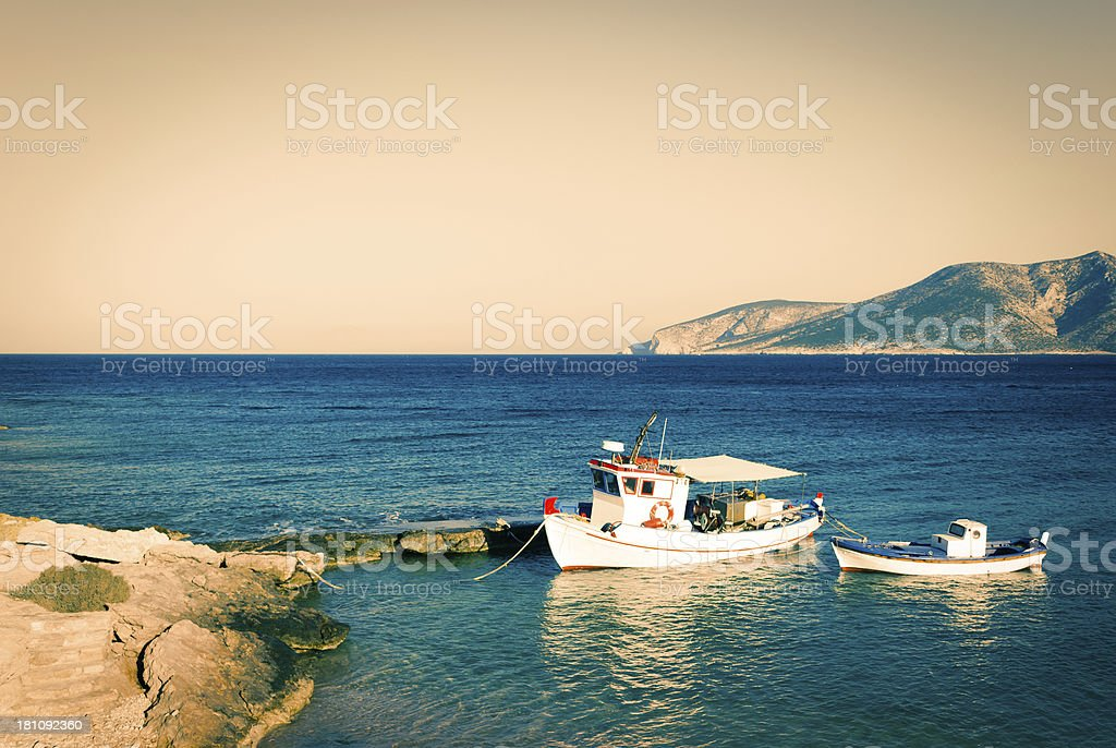 Two typical greek boats royalty-free stock photo