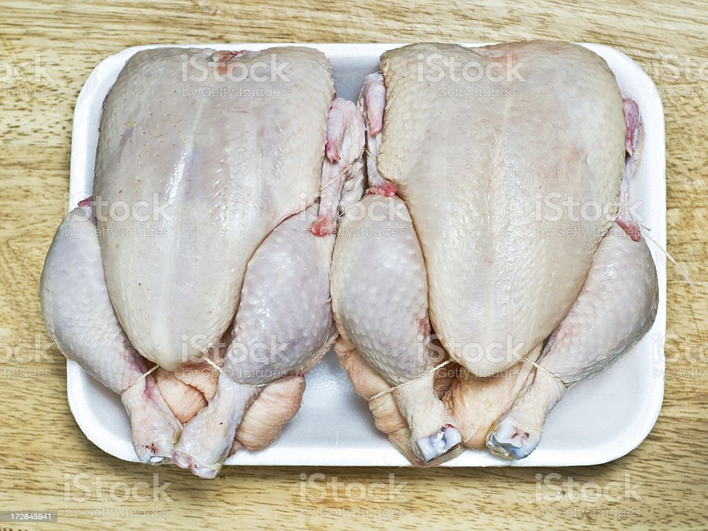Two Uncooked Chickens royalty-free stock photo