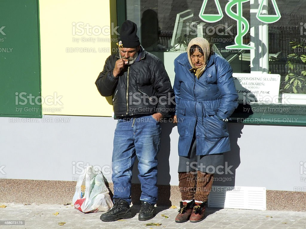 Two unemployed tramps royalty-free stock photo