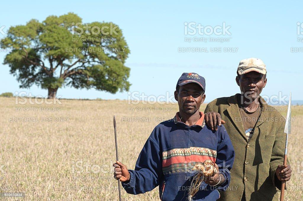 Two unidentified Tandroy men in Berenty Amboasary Madagascar stock photo