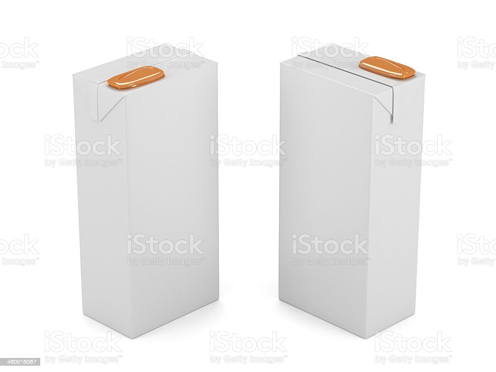 Two unopened all white drinking boxes stock photo