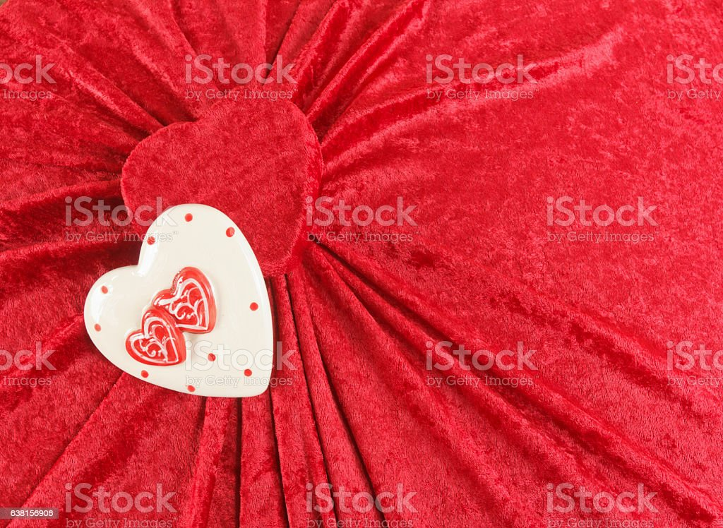 Two Valentine Hearts on a Fabric Background stock photo
