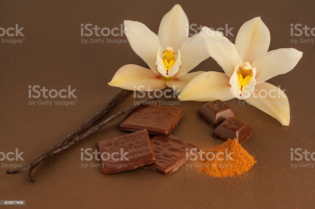 two vanilla beans with backing ingredients and flowers stock photo