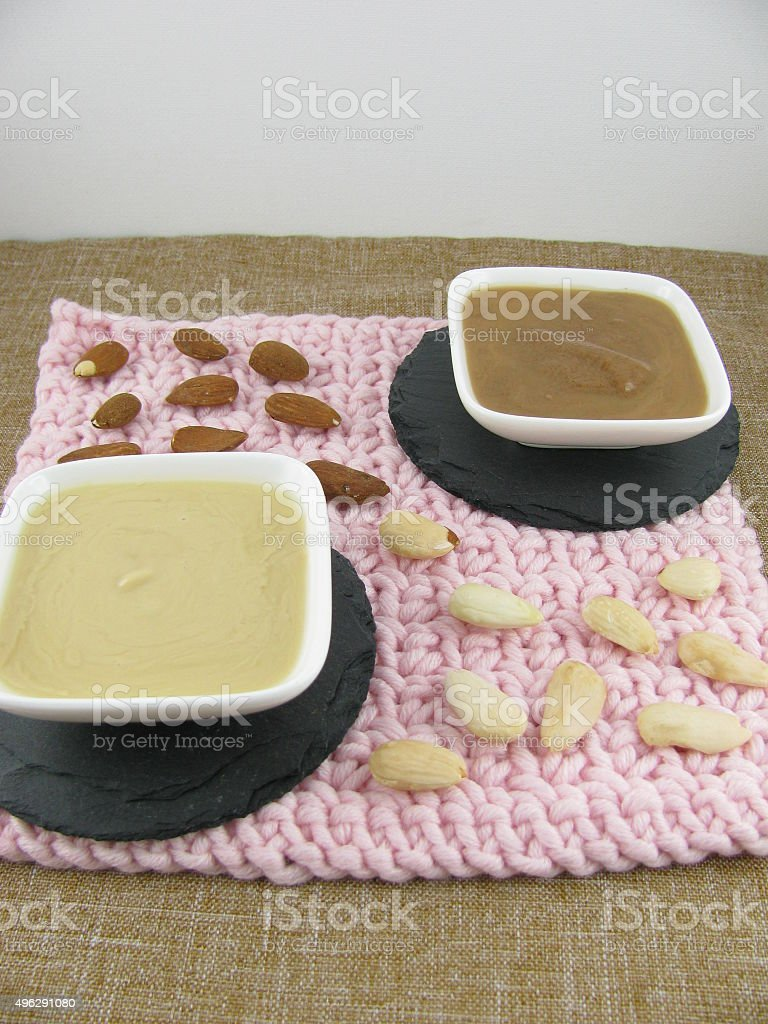 Two varieties almond mus stock photo
