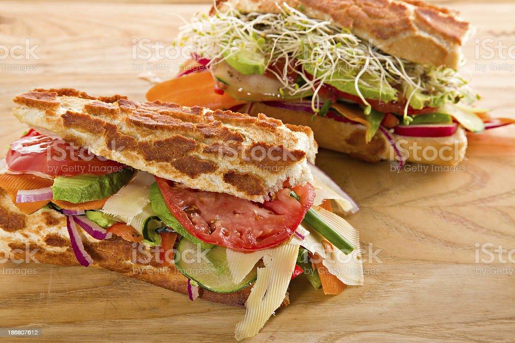 Two Veggie Sandwiches royalty-free stock photo