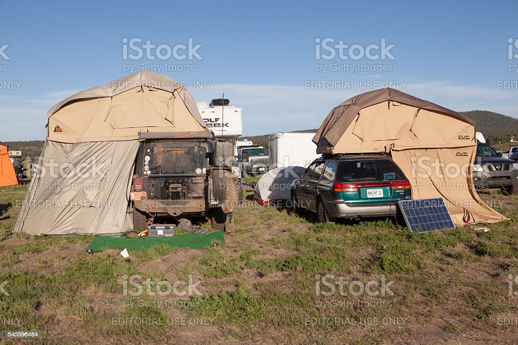 Two vehicles with roof top tents at Overland Expo 2016. stock photo