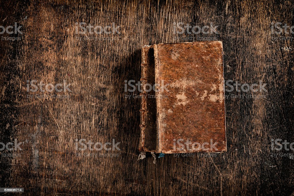 two very old books stock photo