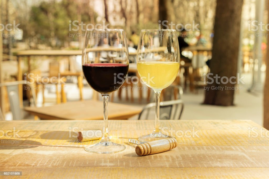 Two vibrant glasses of red and white wine stock photo