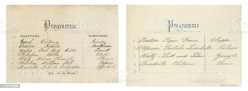 Two Victorian concert programmes stock photo
