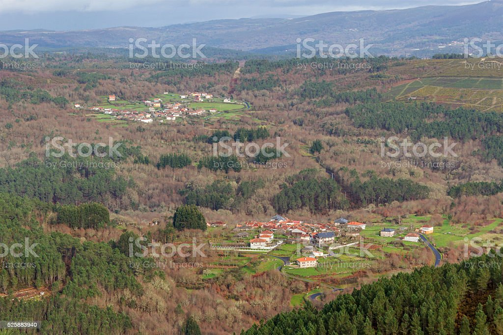 Two villages between forests stock photo