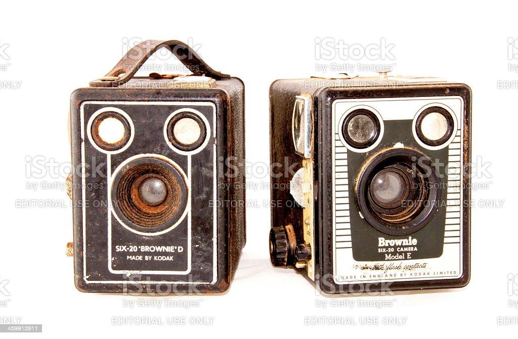 Two Vintage Cameras On White Background stock photo