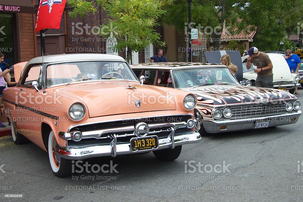 Two vintage cars at Car Show stock photo