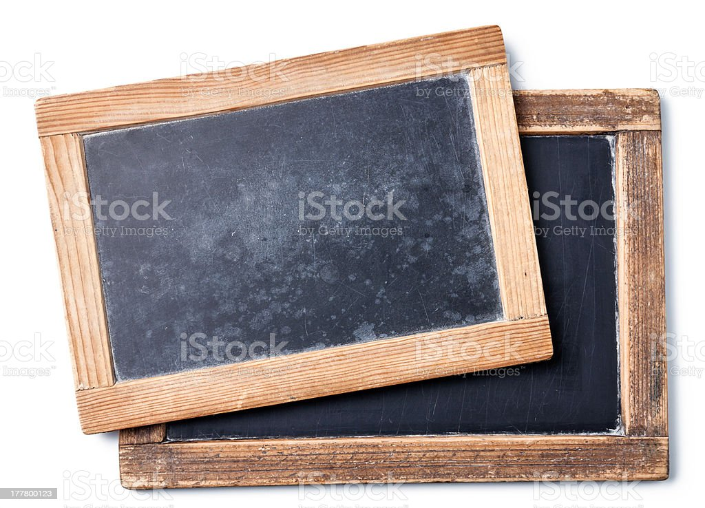 Two vintage chalk boards royalty-free stock photo