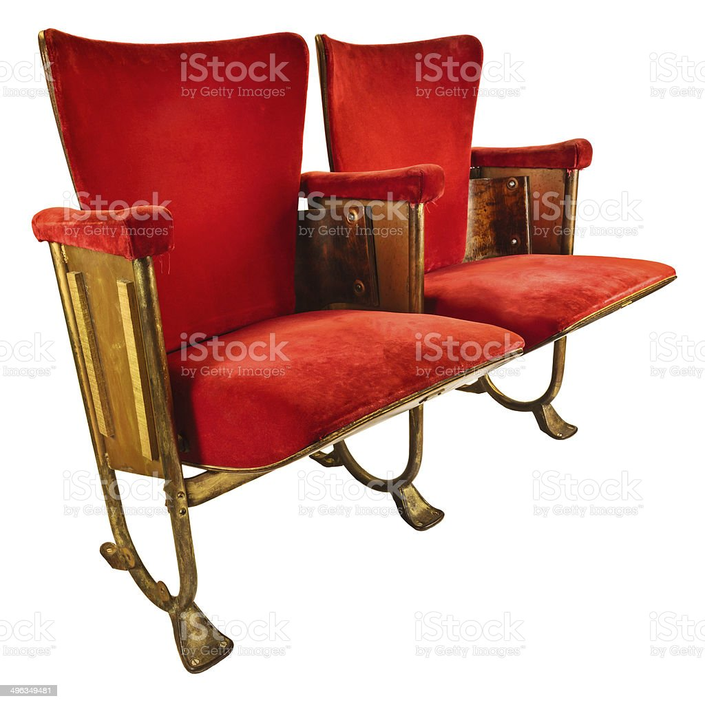 two vintage movie theater chairs isolated on white stock photo