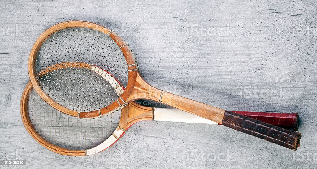 Two vintage rackets stock photo