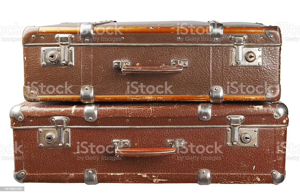Two vintage suitcases royalty-free stock photo
