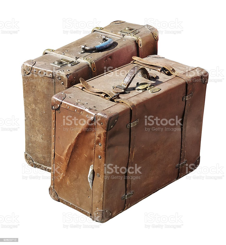 Two vintage suitcases stock photo