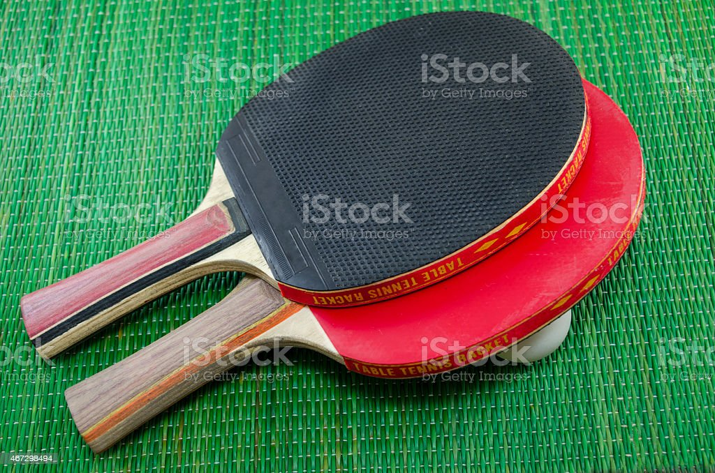 Two vintage table tennis rackets royalty-free stock photo