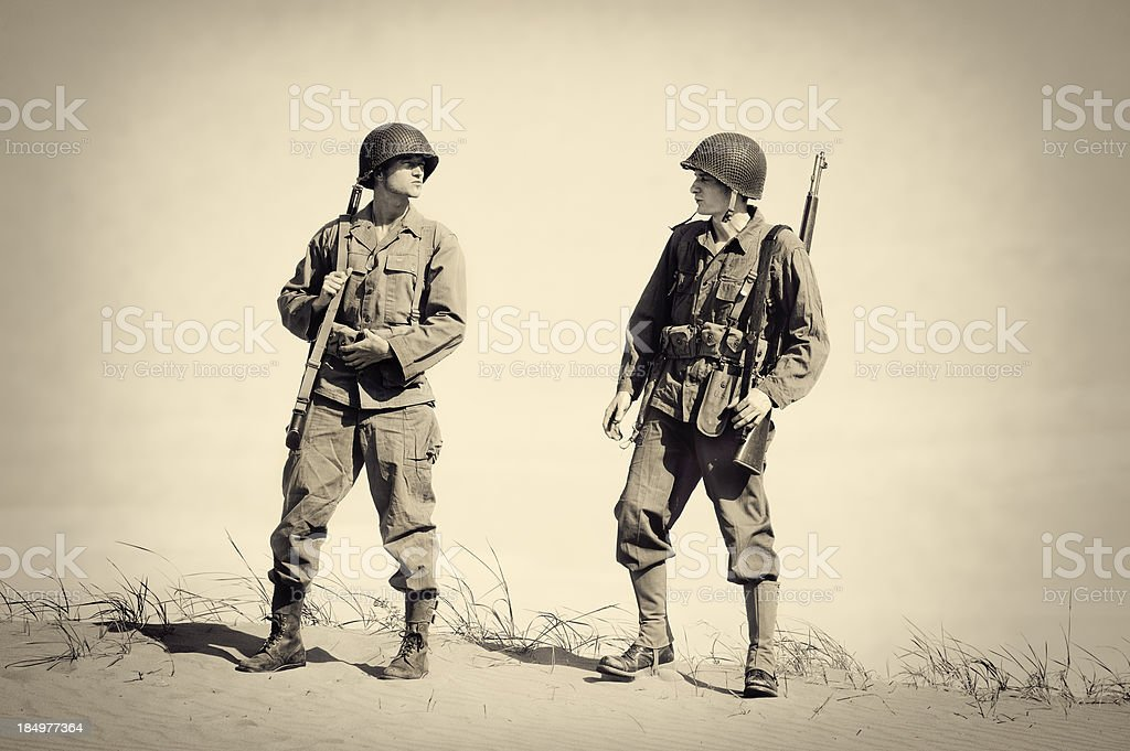 Two Vintage WWII Soldiers stock photo