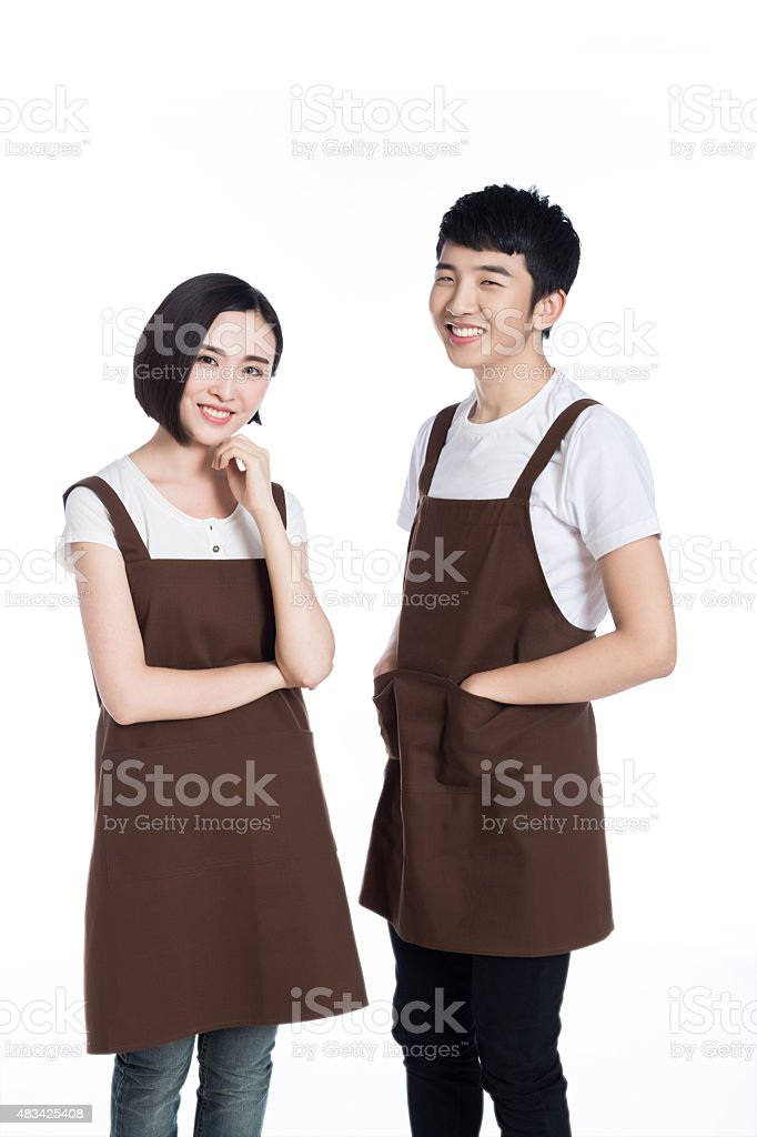 Two waiters on a white background stock photo