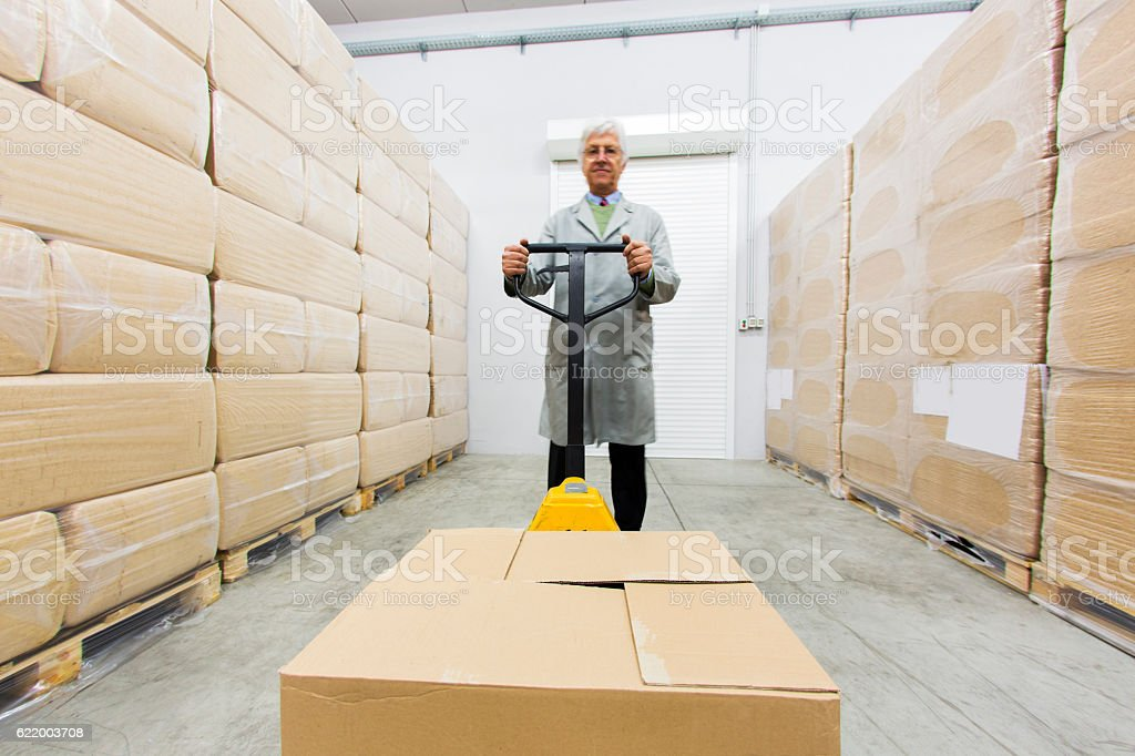 Two warehouse worker pulling pallet truck with boxes.....blurred motion stock photo