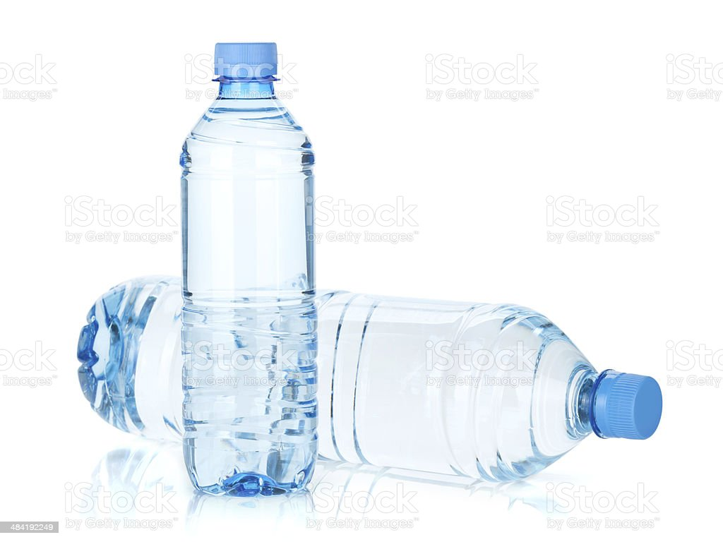 Two water bottles stock photo