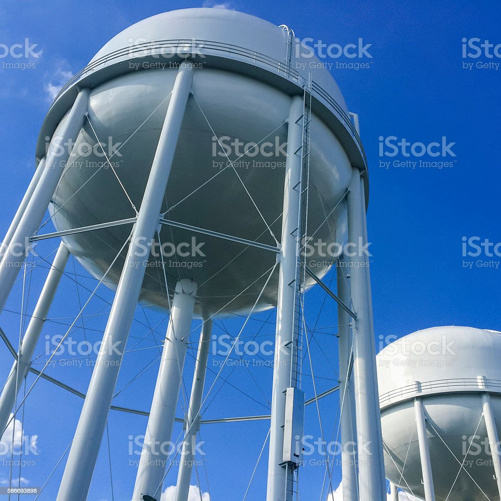 Two Water Tower stock photo