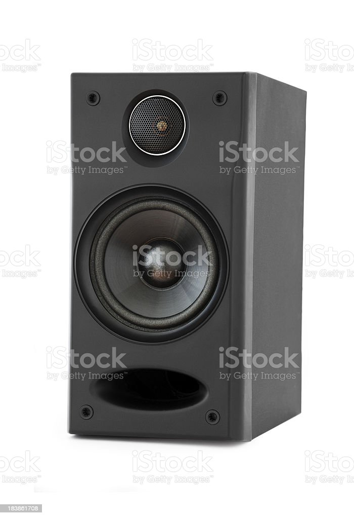 two way bass reflex loudspeaker on white stock photo