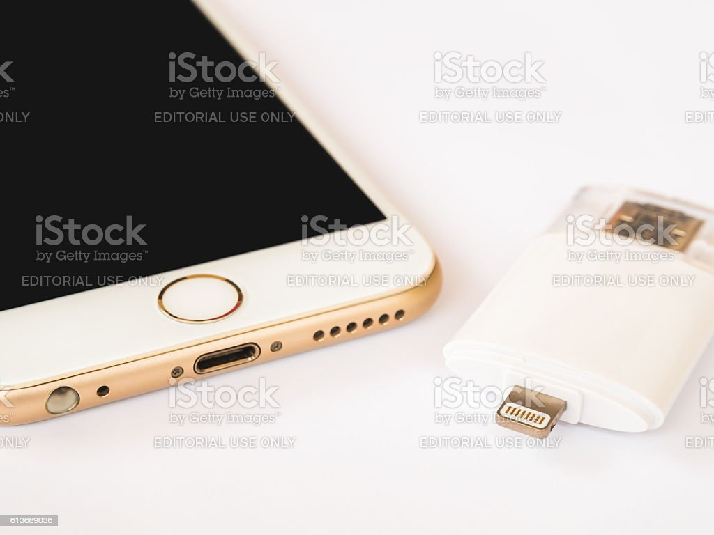 Two way external storage and Apple iPhone stock photo