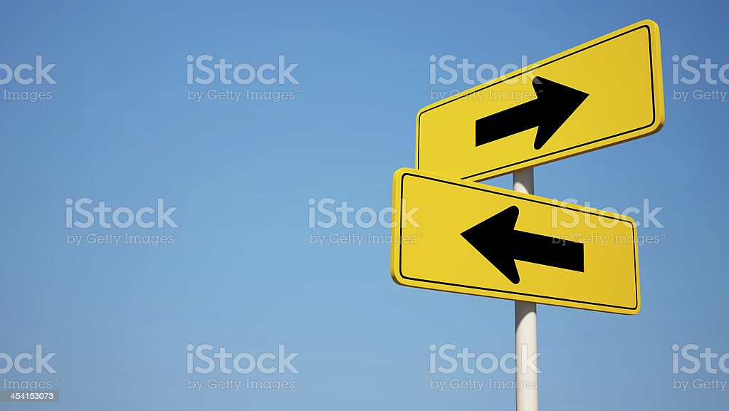 Two way Sign with Clipping Path stock photo
