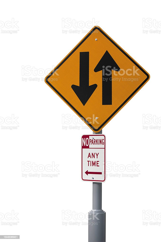 Two Way Traffic and No Parking Signs stock photo