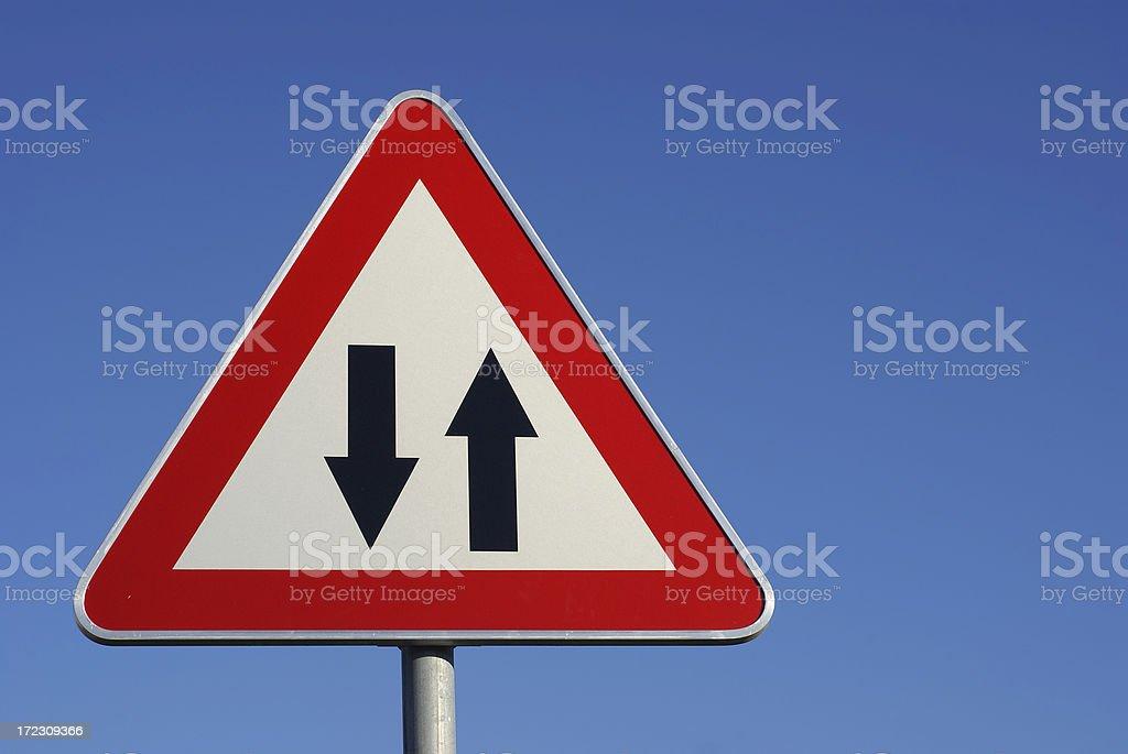 Two way warning traffic sign. royalty-free stock photo