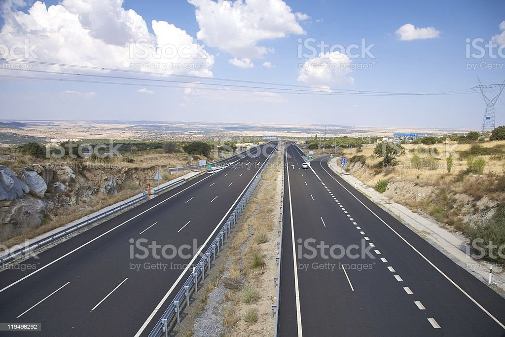 two ways lonely highway royalty-free stock photo