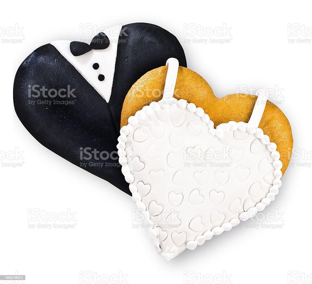 Two wedding cookies stock photo