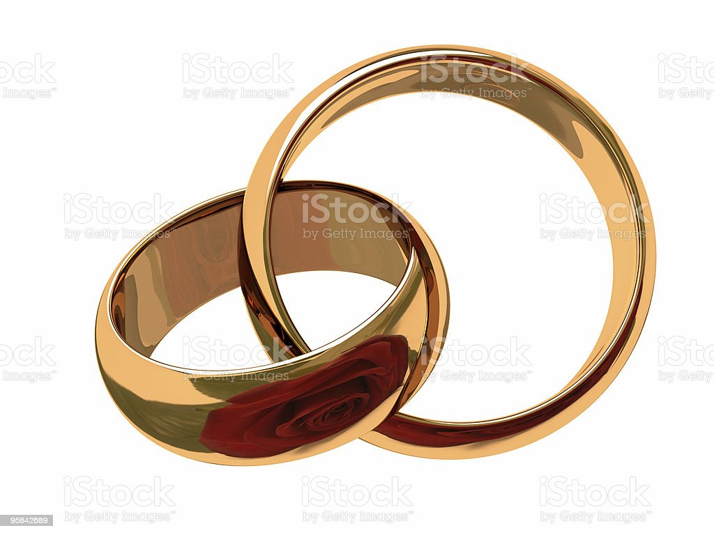 Two Wedding ring with reflexion of a red rose royalty-free stock photo