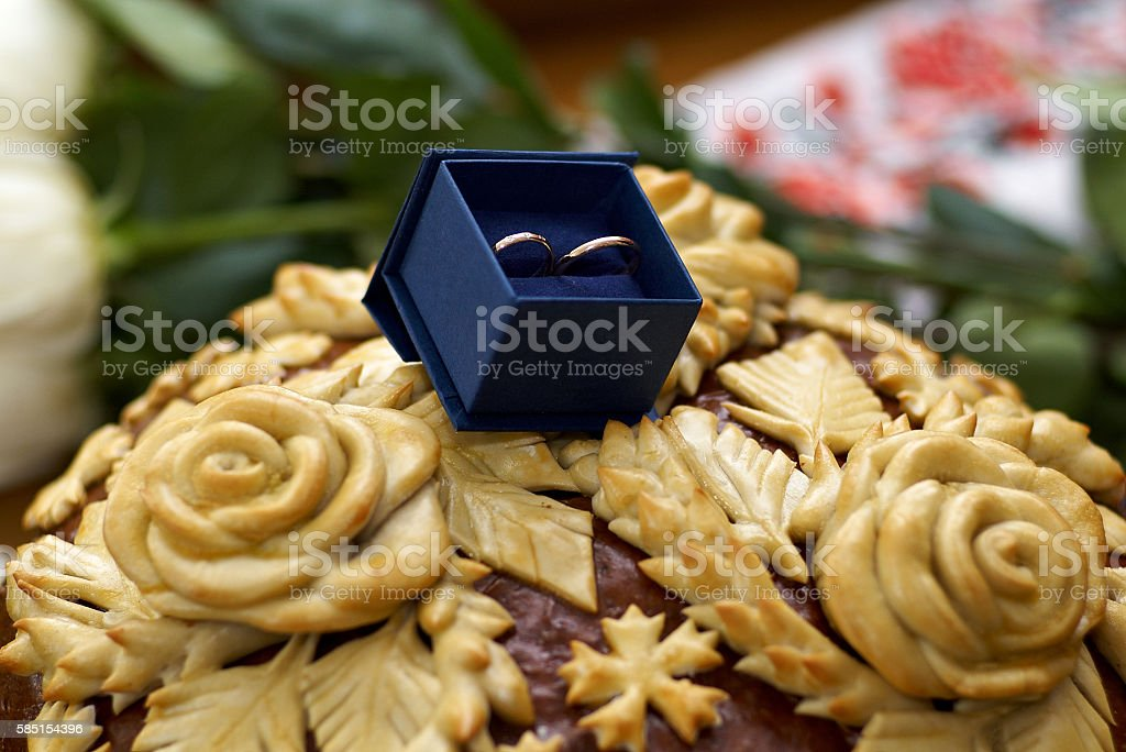 Two Wedding rings in nice blue box with blue velvet stock photo
