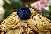 Two Wedding rings in nice blue box with blue velvet