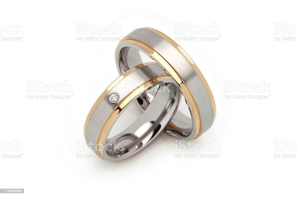 Two Wedding Rings Steel Gold royalty-free stock photo