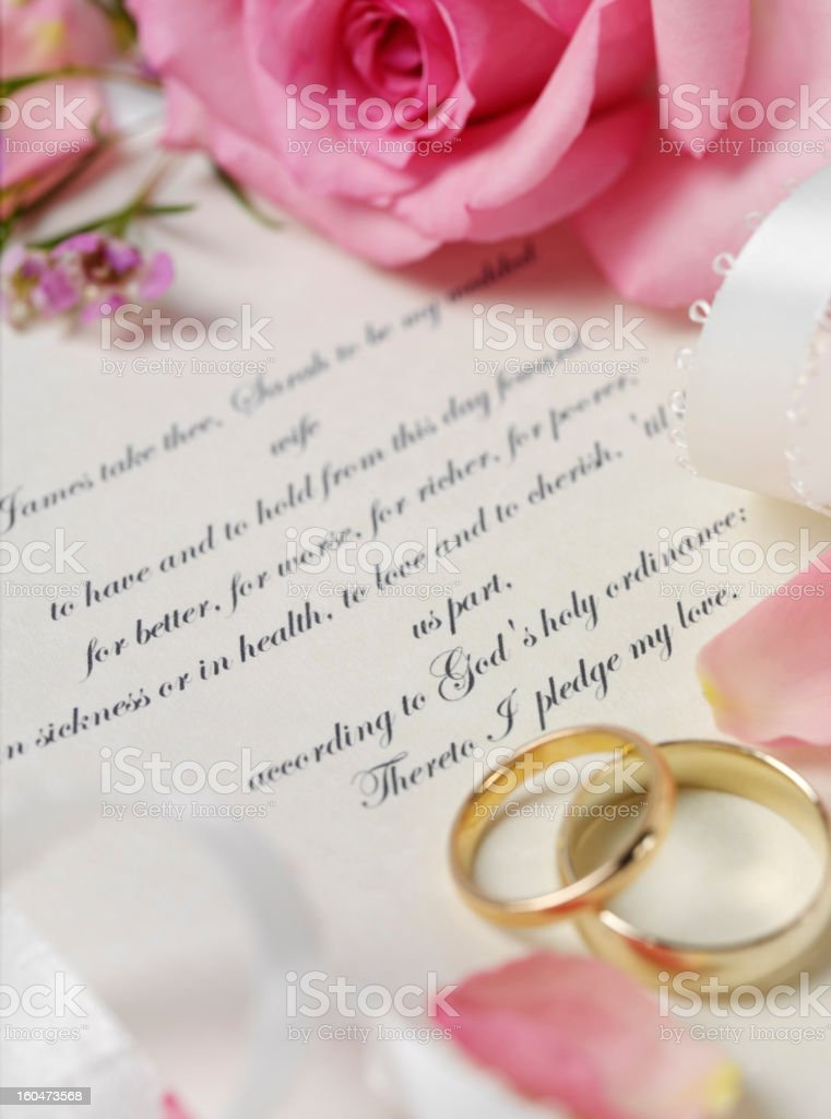 Two Wedding Rings with a Pink Rose stock photo