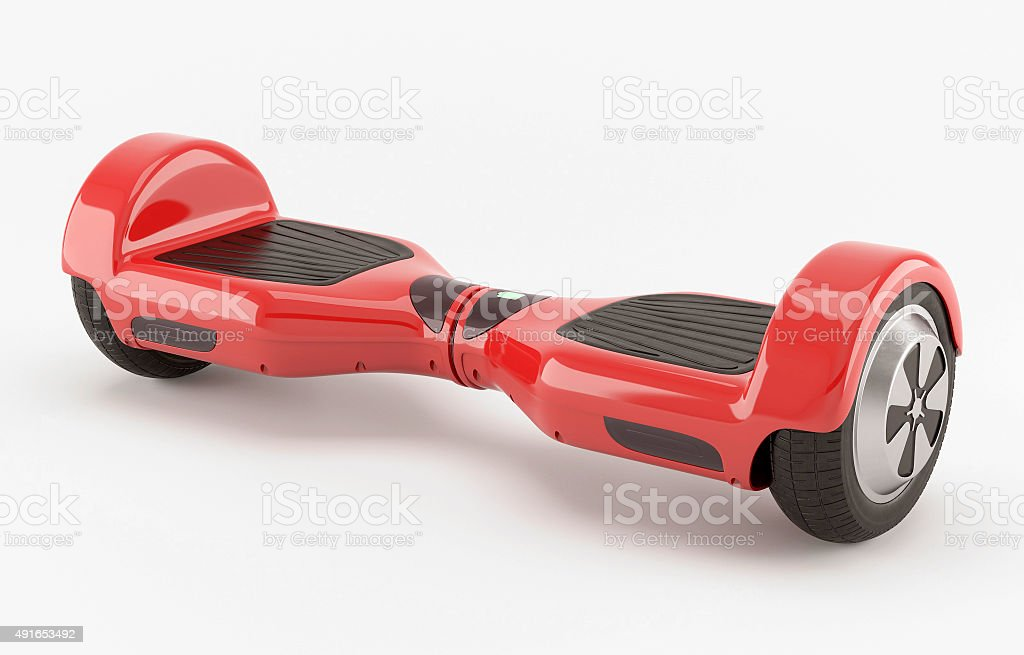 Two wheel electric self-balancing scooter. Red stock photo
