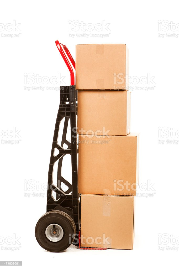 Two Wheeler Hand Cart with Carboard Packages Cargo on White royalty-free stock photo