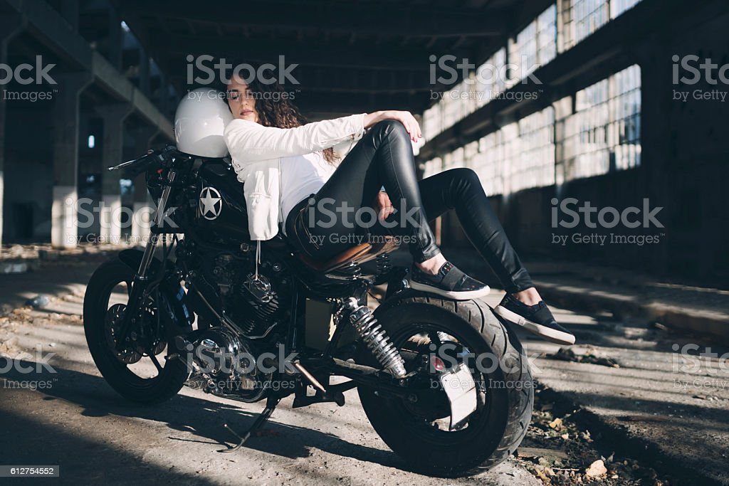 Two Wheels And A Lady stock photo