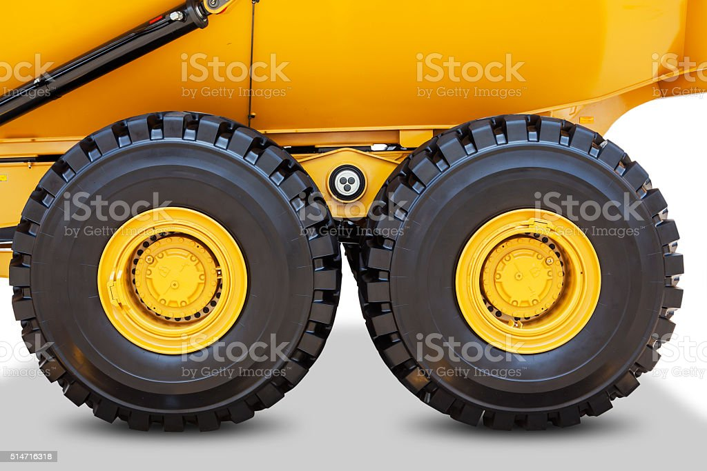 Two wheels of mining truck stock photo