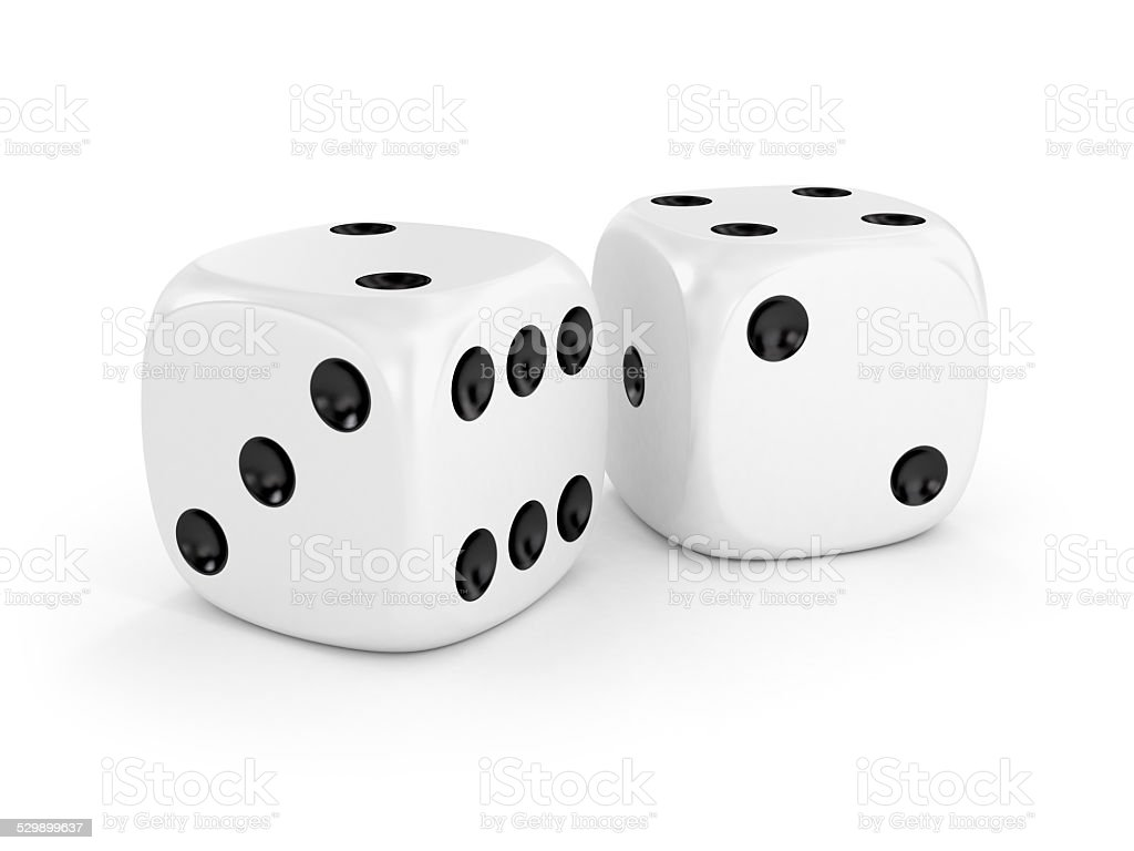 Two white dice isolated on white stock photo