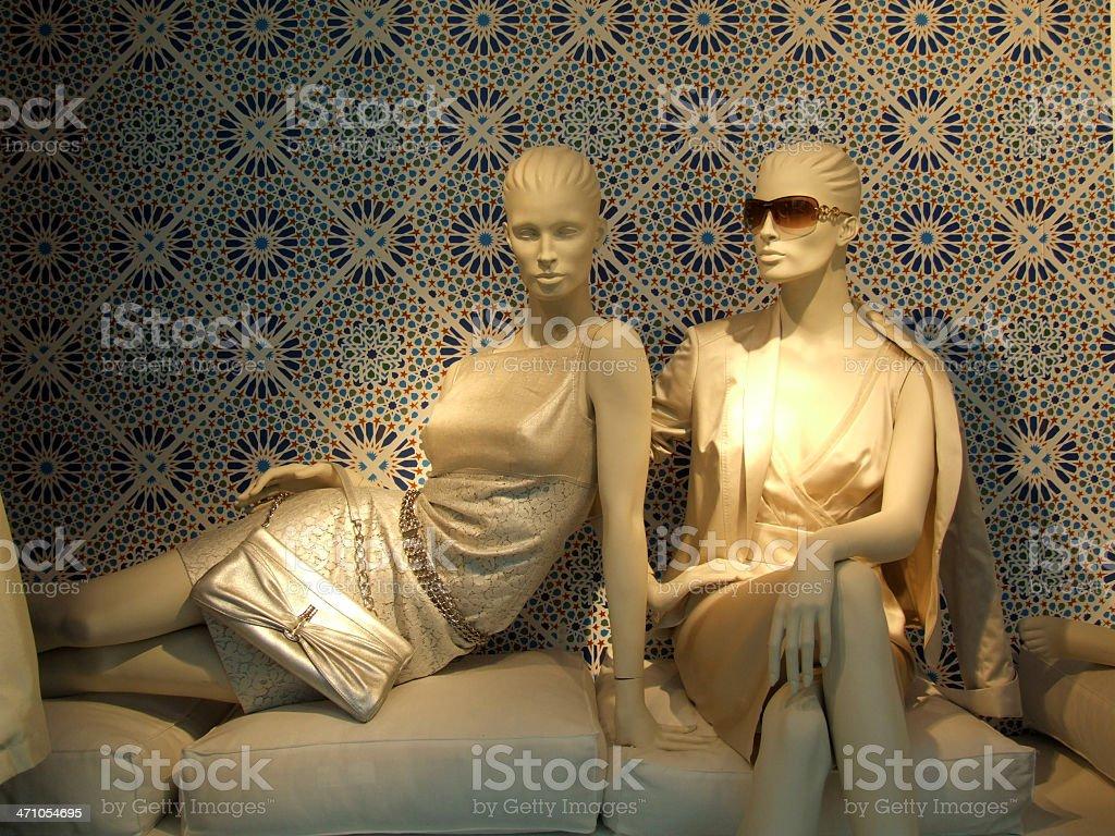 Two 'white' elegant female dummies royalty-free stock photo