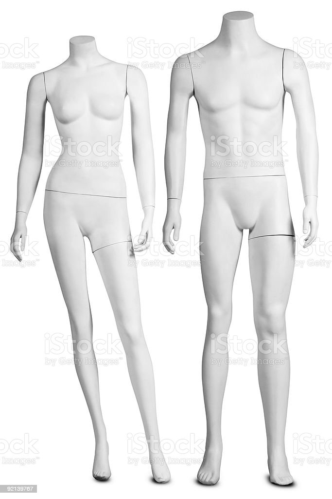 Two white headless shop dummies royalty-free stock photo