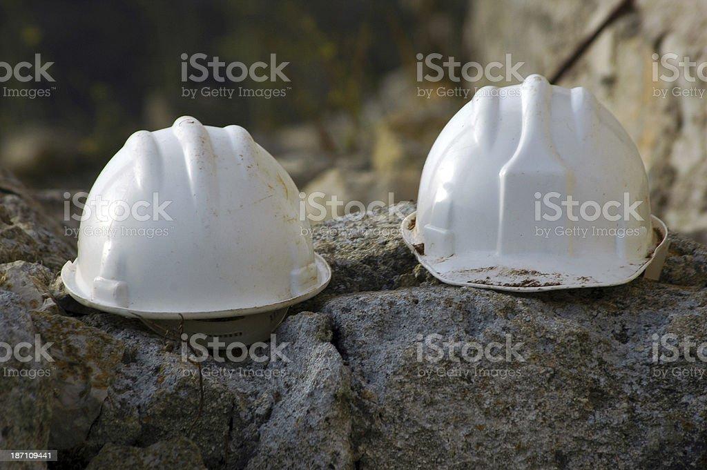 two white helmet royalty-free stock photo