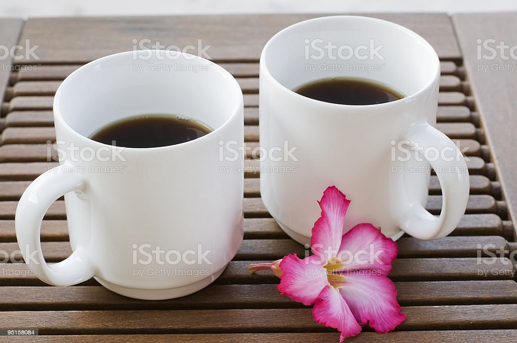 Two White Mugs of Coffee stock photo